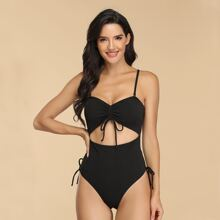 Rib Cut-out Drawstring One Piece Swimsuit