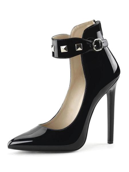 Milanoo Las mujeres atractivas de los altos talones Negro punta estrecha correa del tobillo de las lentejuelas zapatos atractivos