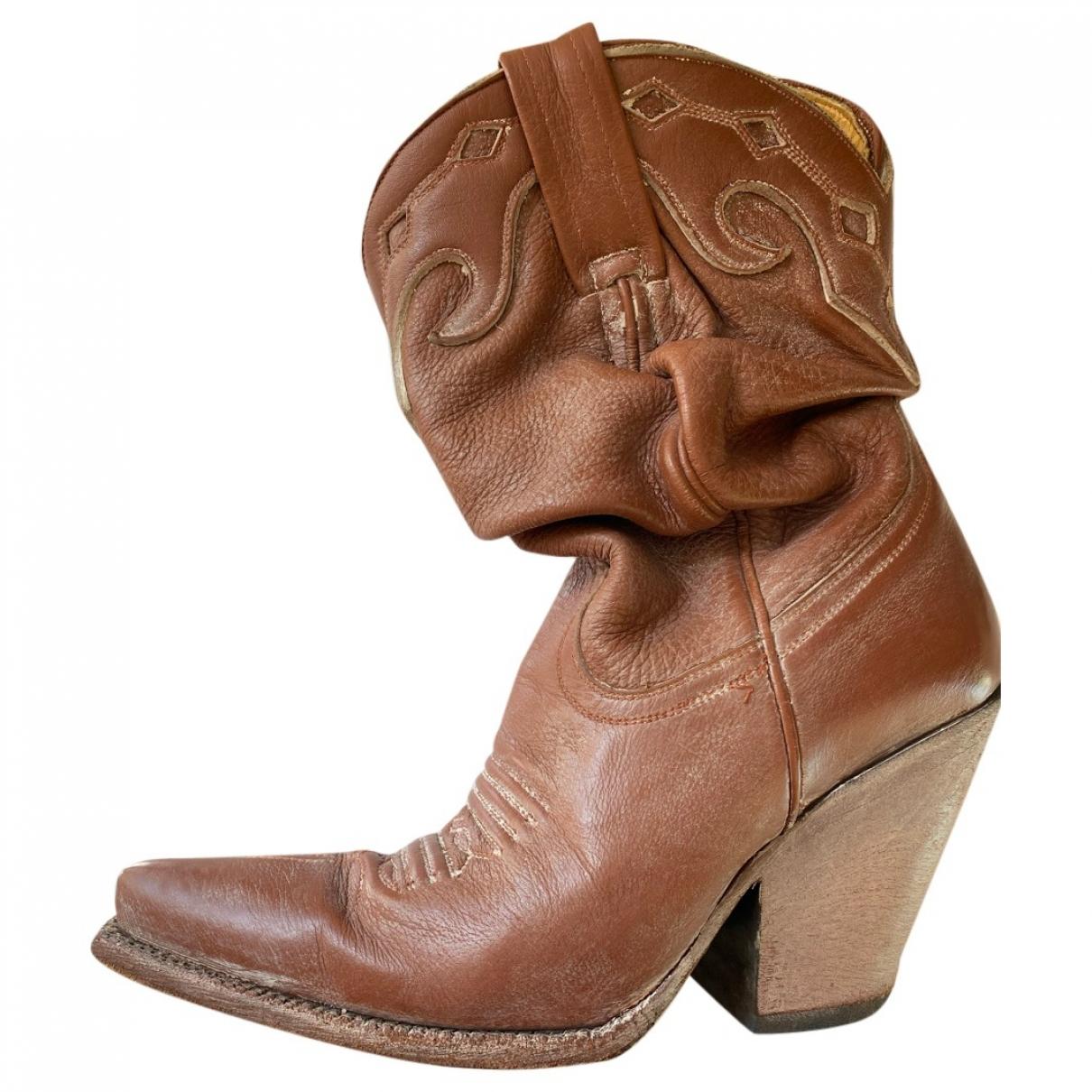 Jean Paul Gaultier \N Camel Leather Ankle boots for Women 36 EU