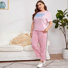 Baby Pink Seitenstreifen Buchstaben  Sportlich  Grosse Grossen - Schlafanzug Sets