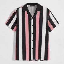 Camisa de hombres de rayas de color combinado de cuello revere