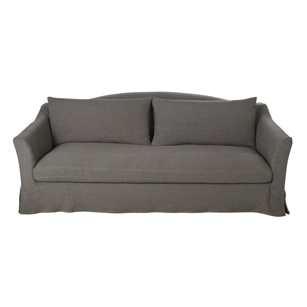 3/4-Sitzer-Schlafsofa mit dickem grauem Leinenbezug und Matratze 10 cm Anaelle