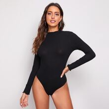 Lettuce Trim Rib-knit Bodysuit