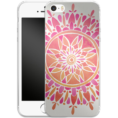 Apple iPhone 5 Silikon Handyhuelle - Mandala Pink Ombre von Cat Coquillette
