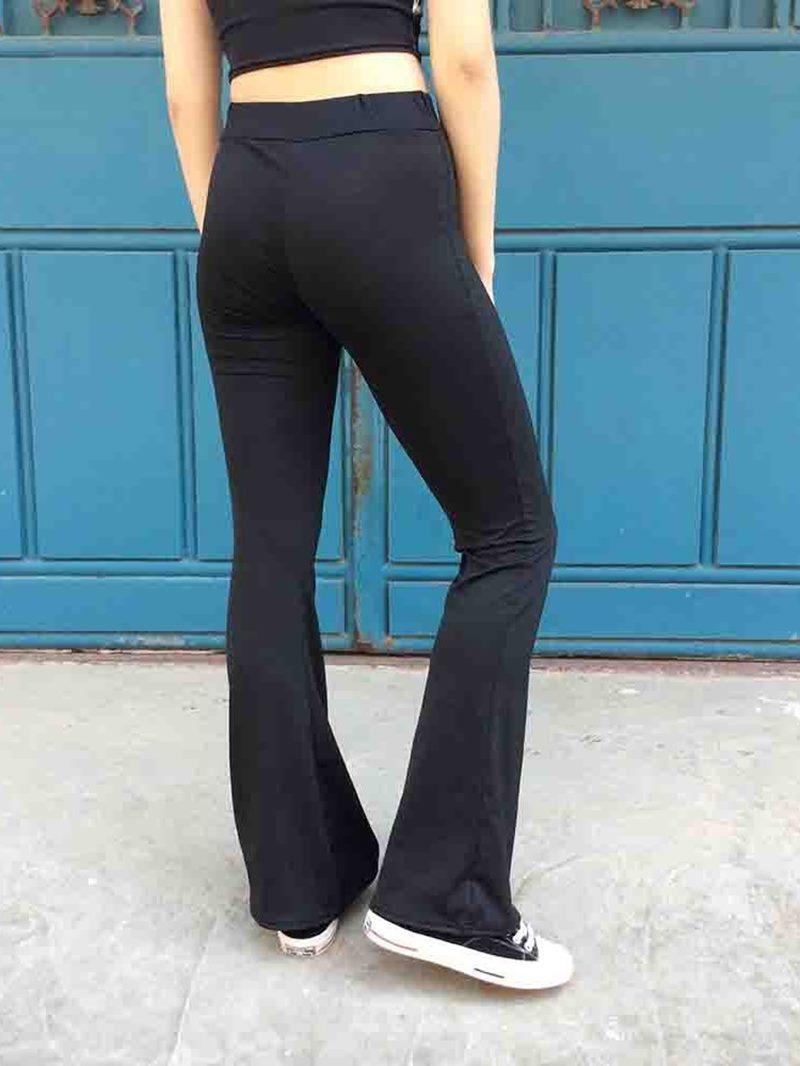 Ericdress Slim Plain Full Length Bellbottoms Casual Pants