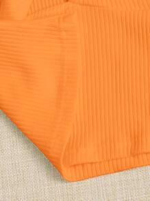 Neon Orange Tie Front Crop Ribbed Cami Top