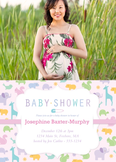 Baby Shower Invitations 5x7 Cards, Premium Cardstock 120lb, Card & Stationery -Pitter Patter