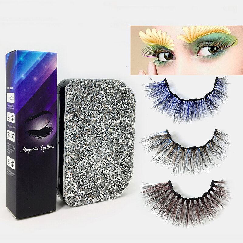 Colorful Magnetic False Eyelashes Set Magnet Eyeliner Natural Eyelashes Lasting Magnetic Makeup