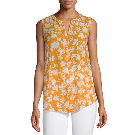 Liz Claiborne Womens Sleeveless Button-Down Shirt, Large , Yellow