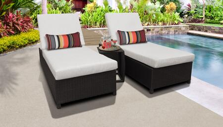 Barbados Collection BARBADOS-W-2x-ST-ASH Patio Set with 2 Chaise with Wheels  1 Side Table - Wheat and Ash