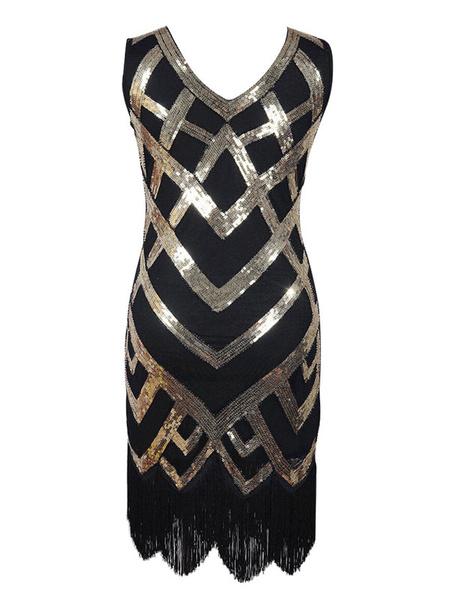 Milanoo Halloween Flapper Dress Vintage Costume Great Gatsby 1920s Fashion Two Tone Women's Black Sequined Charleston Dresses