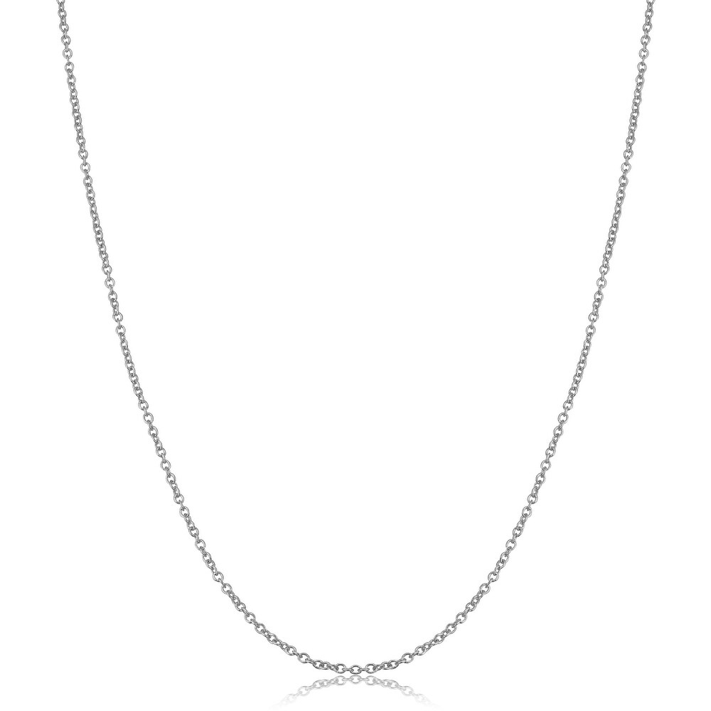 14k White Gold Filled 1.5 millimeter Cable Chain Pendant Necklace (14 - 30 inches) (18 Inch)