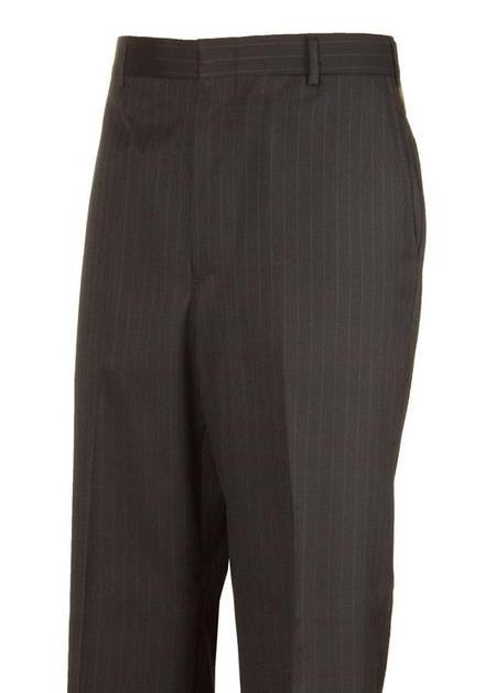 Black Striped Harwick Clothing Plain Front Dress Pants