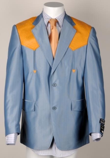Mens Cowboy Suit Traje Vaquero Polyester Suit Set Blue ~ Bone Ostrich