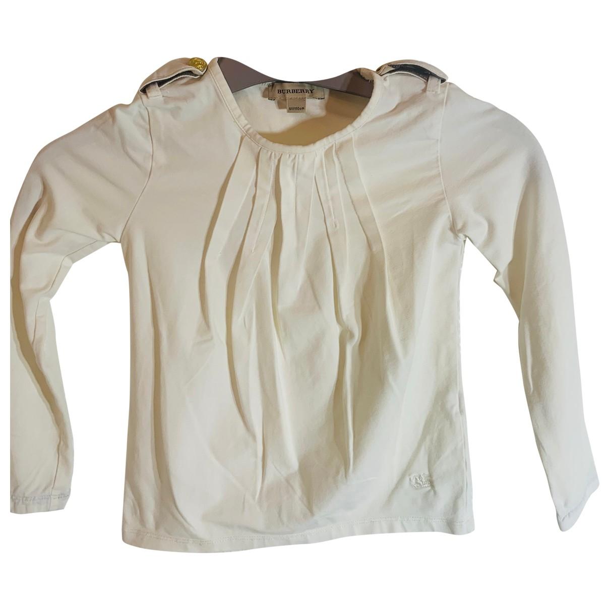 Burberry - Pull   pour enfant en coton - blanc