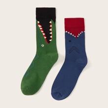 2 Paare Hai Muster Socken