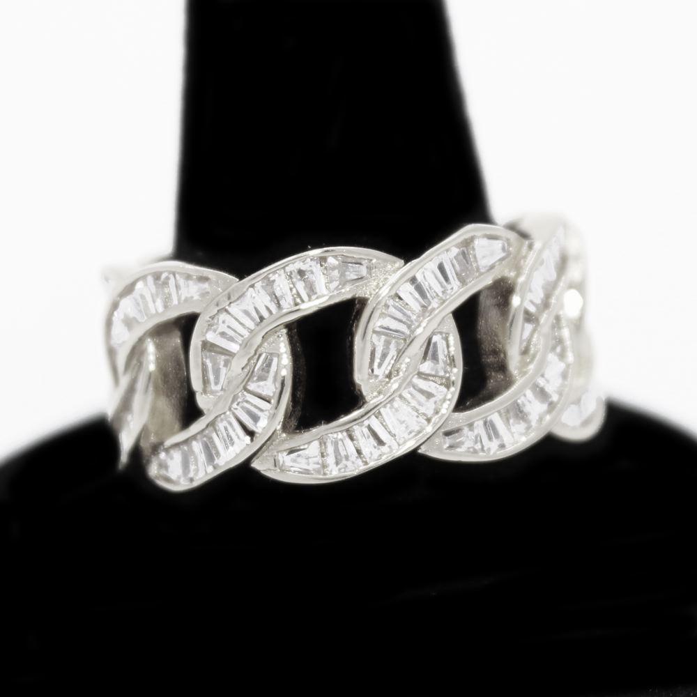 .925 Silver Baguette Cuban CZ Hip Hop Bling Ring