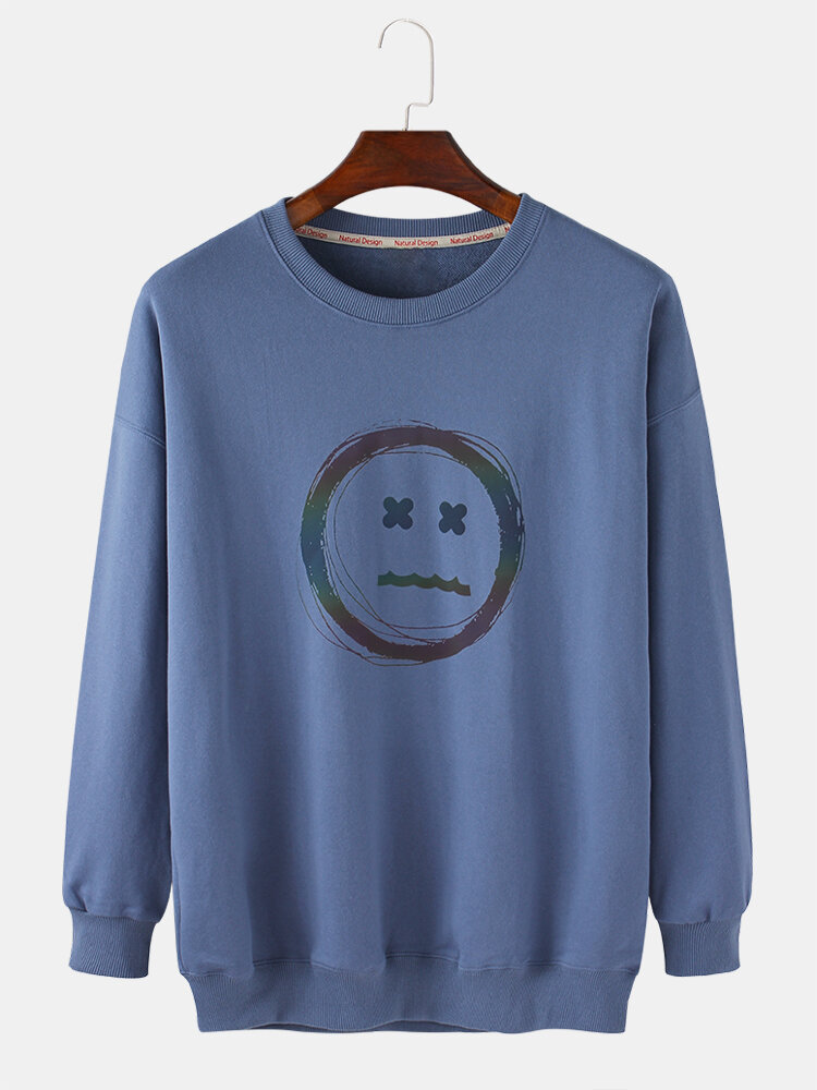 Mens Solid Reflective Face Print Loose Daily Cotton Crew Neck Pullover Sweatshirts