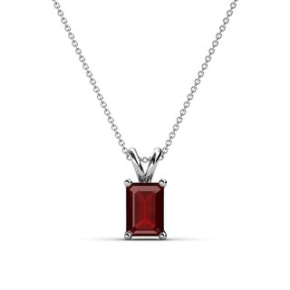 TriJewels Emerald Cut Gemstone Solitaire Pendant Necklace 14K Gold (Red Garnet - White)