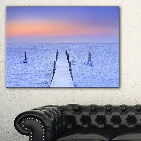 Designart Jetty In Frozen Lake Netherlands Canvas Art, One Size , Purple