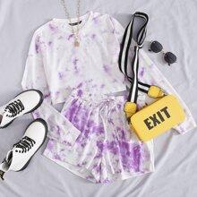 T-Shirt mit Batik & Shorts mit Kordelzug