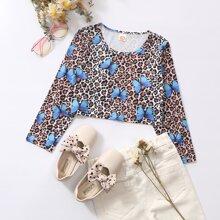 T-Shirt mit Schmetterling und Leopard Muster
