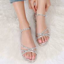 Vegan Croc Leather Ankle Strap Strappy Sandals