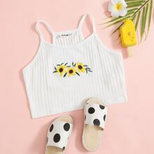Girls Embroidered Sunflower Cami Top