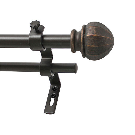 Decopolitan Facet Ball Double Curtain Rod, One Size , Brown