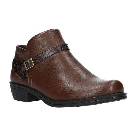 Easy Street Womens Peony Booties Block Heel, 9 Medium, Brown