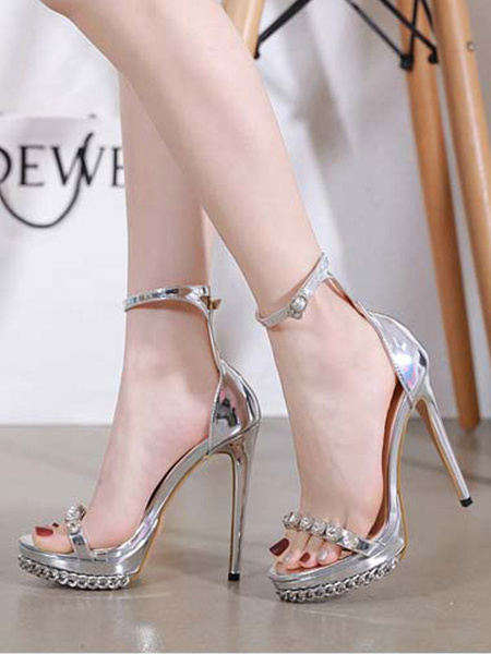 Milanoo High Heels Sexy Sandals Open Toe Stiletto Heel Rhinestones Chic Chain Sexy Sandals