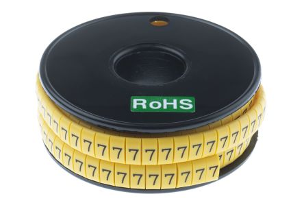 RS PRO Slide On Cable Marker, Pre-printed 7 Black on Yellow 3.5 → 7mm Dia. Range