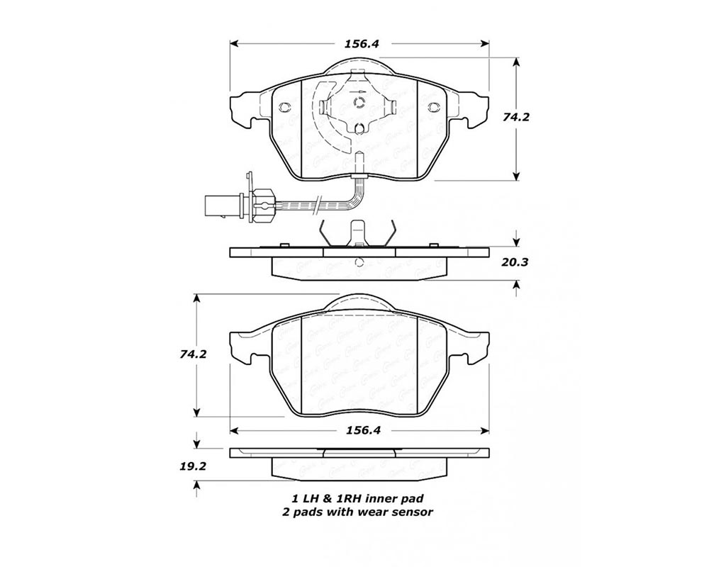 StopTech 308.084 Street Brake Pads with Shims/Hardware Front