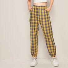 Hosen mit Plaid und elastischer Taille