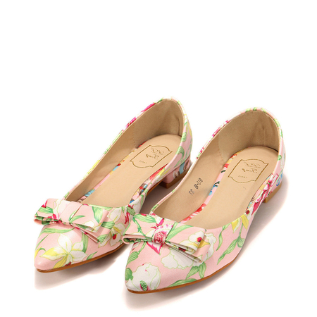 Yoins [Floral ]Pointed Flat Shoes With Bow Detail