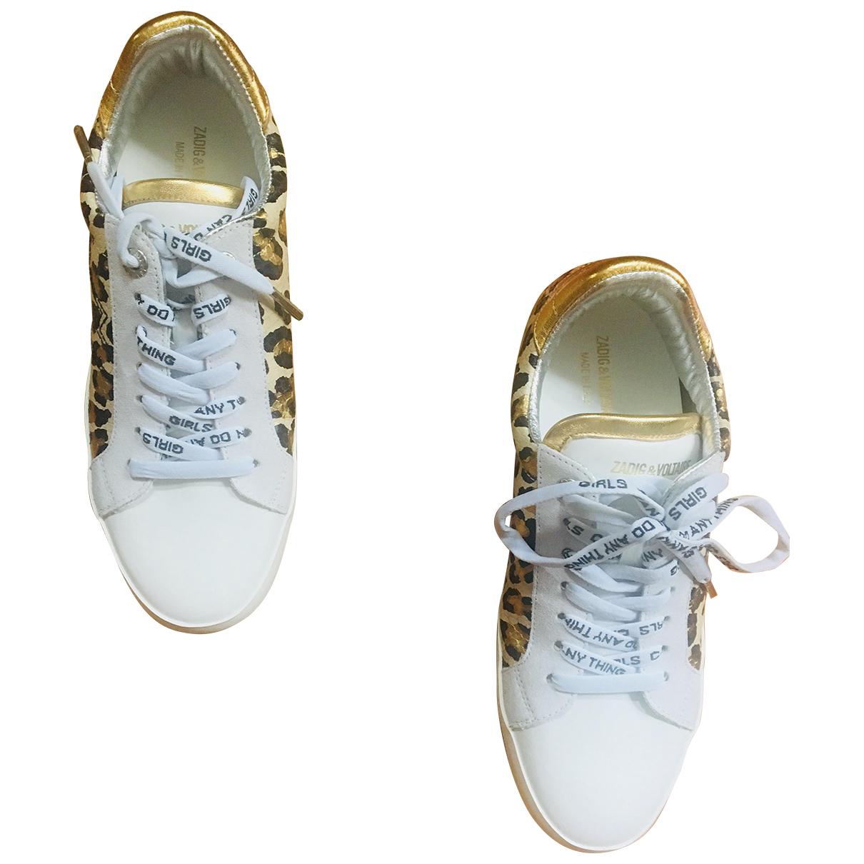 Zadig & Voltaire - Baskets sneakers zadig patch pour femme en cuir - blanc