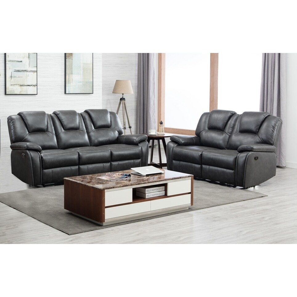 Grey Faux Leather Upholstered Power 2 Piece Sofa set (Grey - 2 Piece)