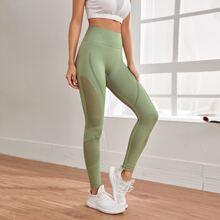 Sports Leggings mit Leiterausschnitt und breitem Taillenband