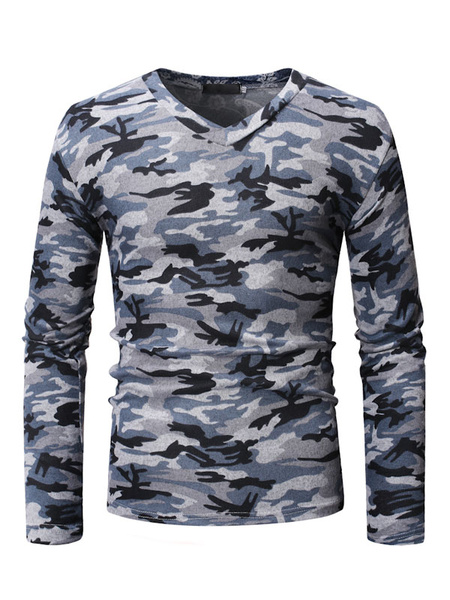 Milanoo Men Cotton Undershirt Hunter Green Camo Print V Neck Long Sleeve Casual T Shirt