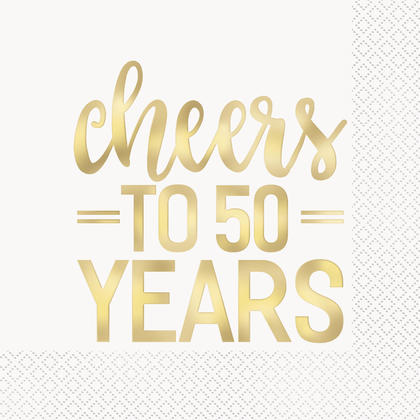 Gold Foil Cheers to 50 Years Luncheon Napkins, 16ct - Foil Stamped