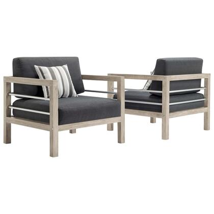 Wiscasset Collection EEI-3968-LGR-STE  Outdoor Patio Acacia Wood Armchair Set of 2 with FSC Certified Acacia Wood Base  Brushed Aluminum Supports and