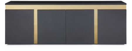 Sumo Collection SB1658-BLK 94 Buffet with 4 Doors  1 Glasss Shelf  Polished Gold Stainless Steel Accent and High Gloss Lacquer Wood Construction in