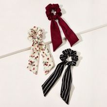 Pañuelo goma de pelo con patron floral de margarita de rayas 3 piezas