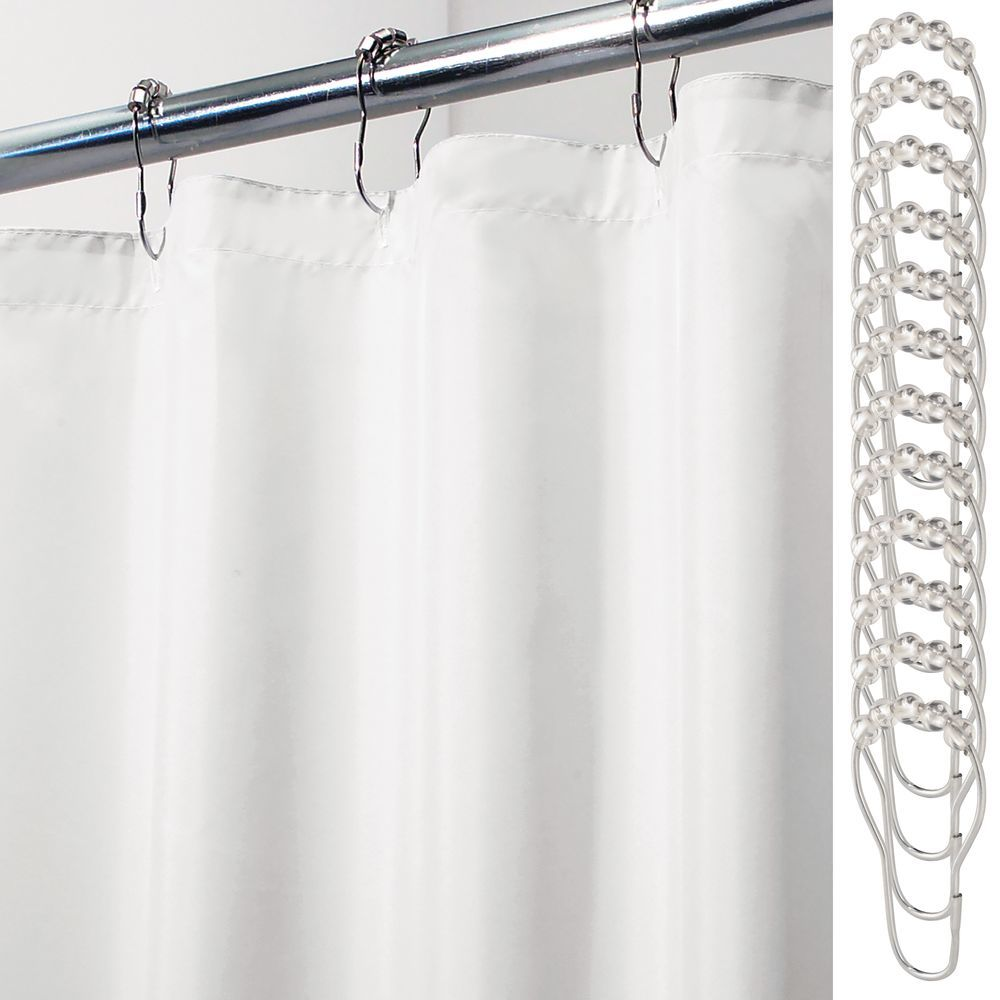 Fabric Shower Curtain Liner and 24 Shower Rings in White, 72