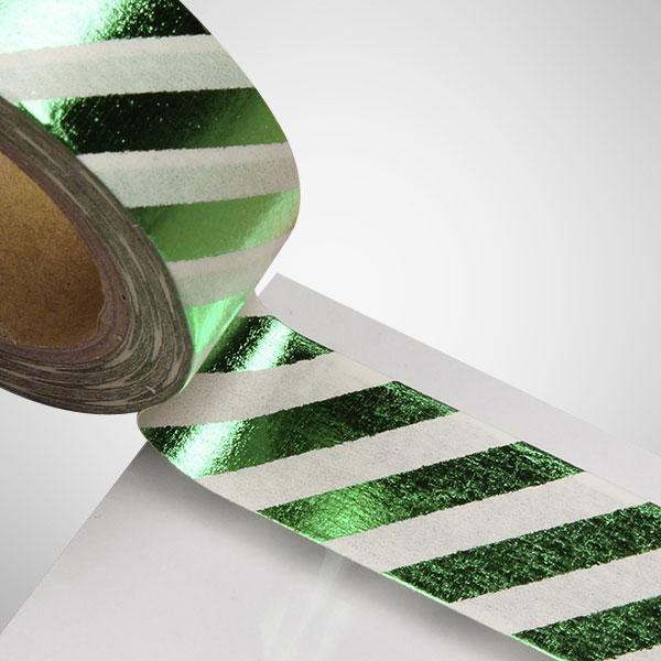 9/16 X 10 Yards Green/White Metallic Diagonal Stripe Washi Tape by Ribbons.com
