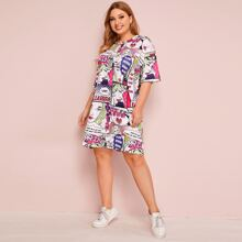 Grosse Grossen - T-Shirt Kleid mit Pop Art Muster