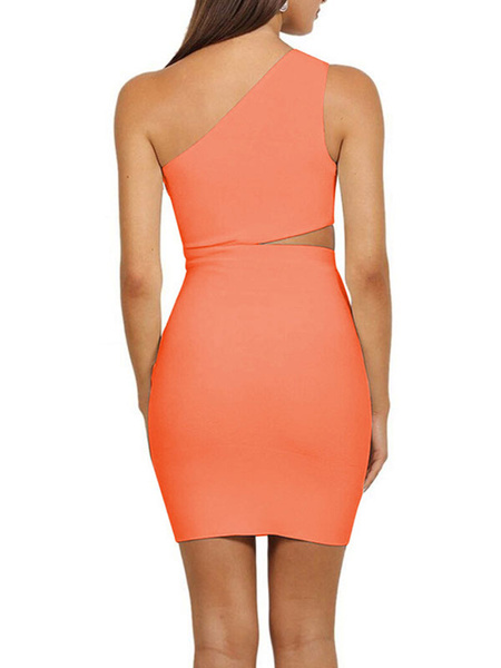 Milanoo Club Dress One Shoulder Sexy Cut Out Sleeveless Polyester Backless Black Sexy Dress