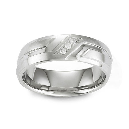 Mens Diamond-Accent Stainless Steel Wedding Band, 9 , No Color Family