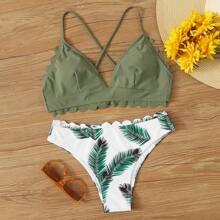 Bikini tropical top con tiras cruzadas ribete en abanico