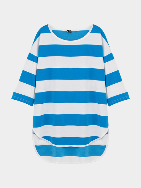 Yoins Oversized Striped Top with Dip Back Hem